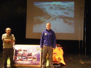 Killin MRT avalanche display at Mountain aid Mountain Safety day 11.10.14 Albert Hall Stirling