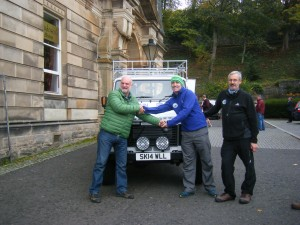 Cameron McNeish, Patron of Mountain Aid hands over keys of new Land Rover on behalf of ST John Scotland